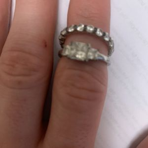 Cubic Zirconium Size 8 Engagement And Wedding Ring set for Sale in East Peoria, IL