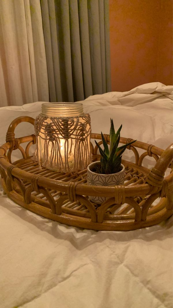 bamboo wood / wicker serving tray