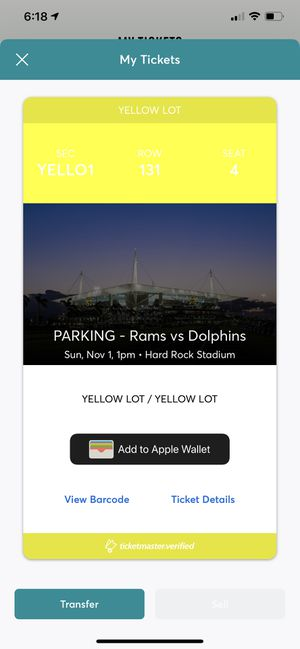 Rams Vs dolphins parking pass for Sale in Miami, FL