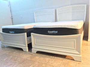 """Two twin beds frame and box spring included memory foam cool gel 12 """" for Sale in Mesa, AZ"""