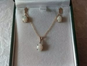 Beautifull 14k solid gold Opal and Diamond Necklace & Earring lady's set for Sale in Ontario, CA