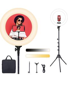 🎊 $75 Brand New In Box 18inch Dimmable Brightness Bicolor 3000K-6500K Led Ring Light with Stand for Sale in Malden,  MA