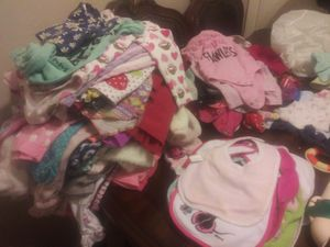 Baby girl clothes, bibs, and new born pampers for Sale in Georgetown, TX