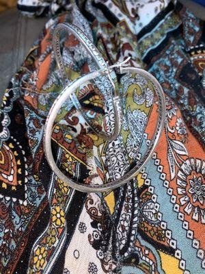 Sterling silver zirconia round big hoops for Sale in San Antonio, TX