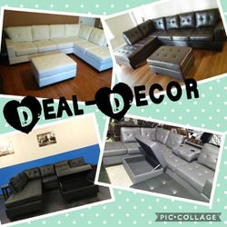 Leather Sectional with Storage Ottoman for Sale in Atlanta,  GA
