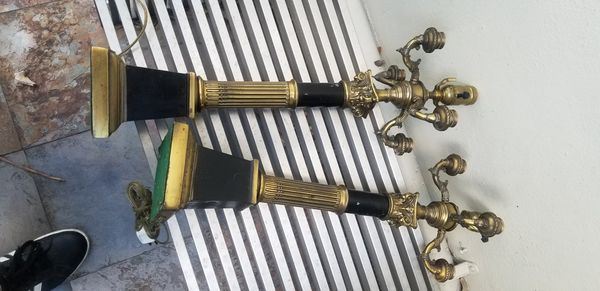 ANTIQUE PAIR OF CANDELABRA TABLE LAMPS BLACK & BRASS