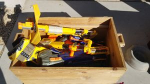 Nerf guns in wooden toybox for Sale in Surprise, AZ