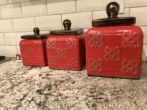 Ceramic canisters set (red) for Sale in Bakersfield, CA