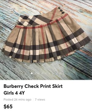 Burberry Check Print Skirt Girls 4 4Y gently worn for Sale in Bethlehem, PA