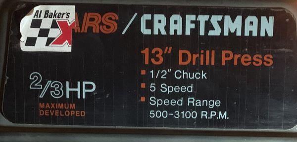 """SEARS/CRAFTSMAN 13"""" DRILL PRESS"""