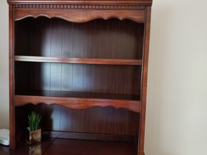 Desk with corner table and book shelf. Cherry finish for Sale in Annandale, VA