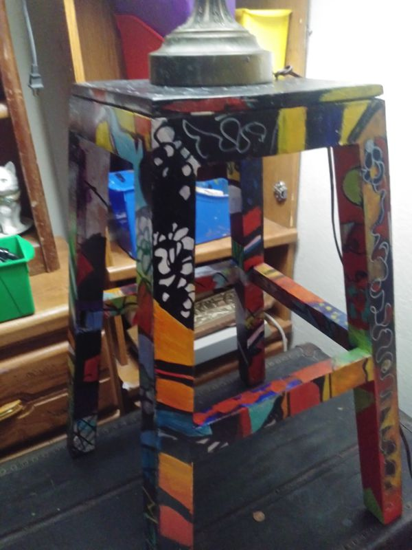 Hand-painted wooden stool