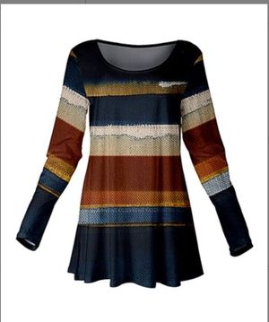 Blue & Brown Stripe Scoop Neck Tunic - XL for Sale in East Cleveland, OH