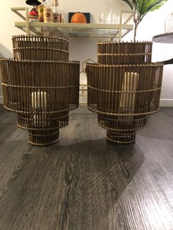 Wicker wall sconce with candle for Sale in Boston,  MA