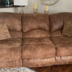 Two Matching Sofas With Custom Pillows 4 Years New Recently Dry cleaned Non Smoking Home All Ends Recline for Sale in Cleveland,  OH