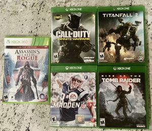 Xbox one and xbox 360 game lot 5 total for Sale in Fountain Valley, CA