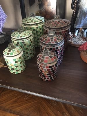 Stained glass storage kitchen containers for flour sugar for Sale in Clemmons, NC