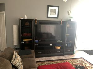 Entertainment center with vizio 60 inch smart tv and rca sound bar for Sale in Chandler, AZ