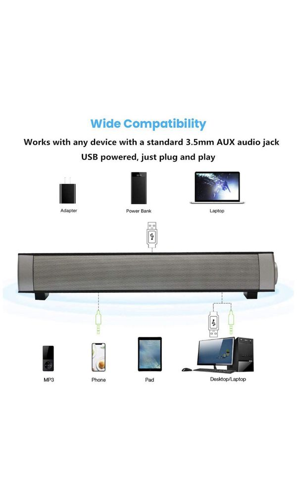 Upgraded Version] Computer Speakers, ASIYUN Wired and Wireless Computer Sound Bar, Stereo USB Powered Mini Soundbar Speakers for PC Tablets Laptop De