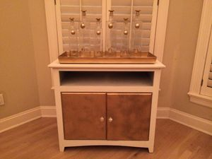 Gold and white bar with crystal knobs and wine rack installed for Sale in Burbank, CA