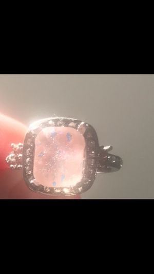 Princess Cut Pink Fire Brilliant Opal Accented WHiTE Sapphire 925 Sterling Silver Size 6 Engagement, Wedding, Birthday Bridal Size 6 Romantic Ring for Sale in Laveen Village, AZ