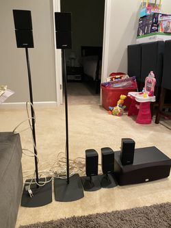 5 x Bose Double Cube speakers acoustimass Lifestyle with 4 stands (2 long + 2 short) and an Onkyo 100w center channel for Sale in Fairfax,  VA