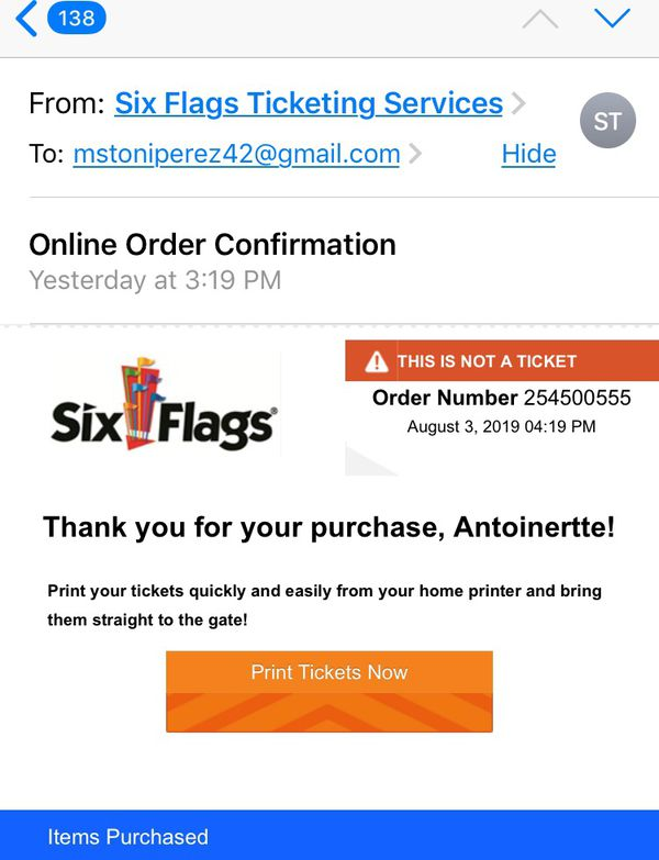 Six flags America tickets
