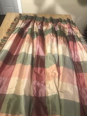 """Draperies, 4 pinched pleat panels, silk, innerlined, 32"""" x 96"""" each panel for Sale in Washington, DC"""