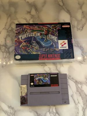 Nintendo SNES Super Nintendo Turtles in Time Turtles IV game and case for Sale in Corona, CA