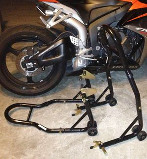 New in box black or red color front and spool lift rear motorcycle sports bike repair maintenance jack stand rack for Sale in Montebello, CA