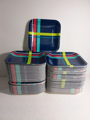 """775 Blue w/ Bright Stripes 7"""" Striped Square Paper Plates 4 Parties, Birthdays, Showers for Sale in Jacksonville, FL"""
