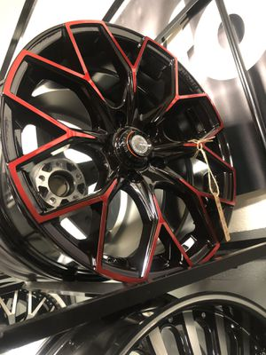 BRAND NEW set (4) Red and Black rims only $500 !!! for Sale in Lakewood, WA