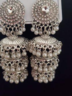 Silver Color Jumkha Earrings for Sale in Windsor Mill,  MD