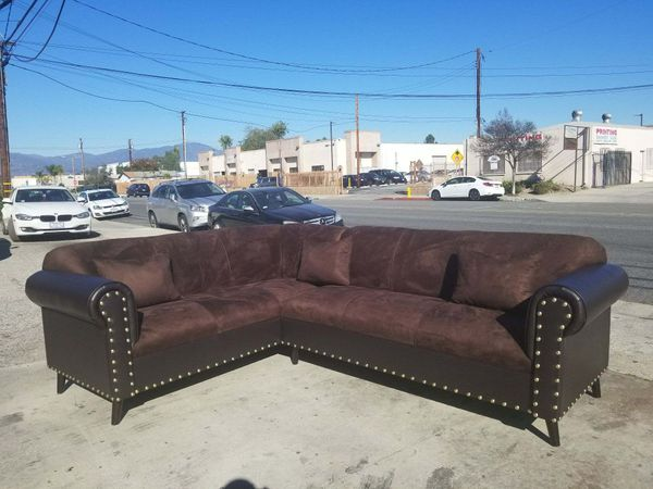 NEW 7X9FT BROWN MICROFIBER COMBO SECTIONAL COUCHES