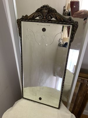 Antique wood pod framed mirror with floral etched glass for Sale in Philadelphia, PA