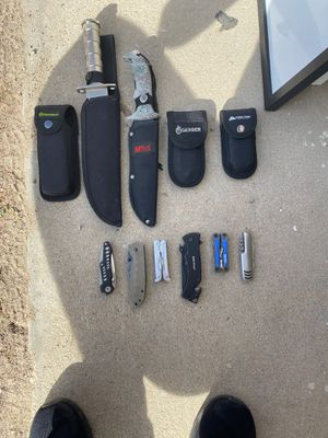 Collection of multi tools and knives for Sale in Apple Valley, CA
