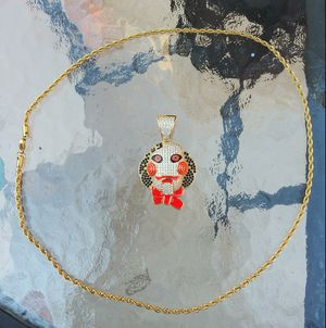 "Gold Tekashi 69 jigsaw head pendant w/ 24"" chain for Sale in Los Angeles, CA"