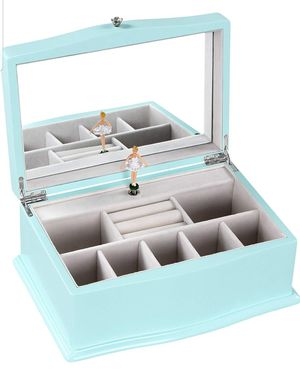 Jewelry Box with Ballerina (music) ,Tiffany Blue Wooden Musical Box with Large Mirror for Sale in Los Angeles, CA