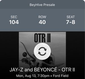 Jay-Z and Beyonce OTR Tickets for Sale in Detroit, MI