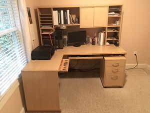 "72"" Computer desk with left side return, hutch and rolling file drawer for Sale in Virginia Beach, VA"