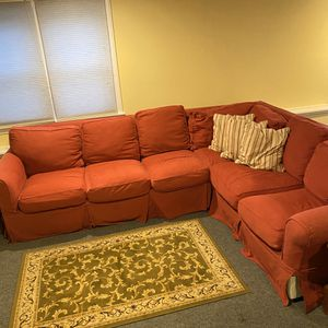 OLDER RED Sectional Couch for Sale in Boston, MA