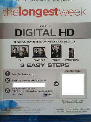 The Longest Week Digital Code HD VUDU ONLY Jason Bateman Olivia Wilde for Sale in Los Angeles, CA