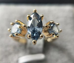 New gold filed blue sapphire wedding ring size 7 for Sale in Inverness, IL