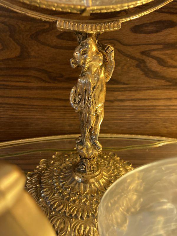 Beautiful Vintage Set-cherub Round Mirror With 4 -antique Parfumerie Bottles