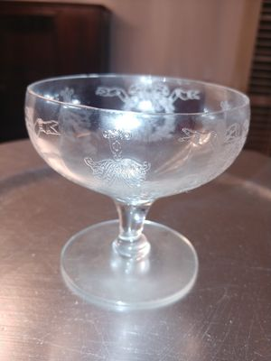 Antique compote glass etched glass cups 5 for Sale in Fort Worth, TX