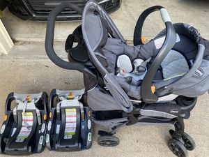 Chicco Keyfit 30 car seat with stroller and 2 bases for Sale in Pasadena, TX