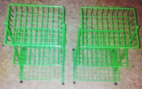 """2 SMALL green metal shelfs Measures 13"""" hight and 7 1/2 """" wide"""