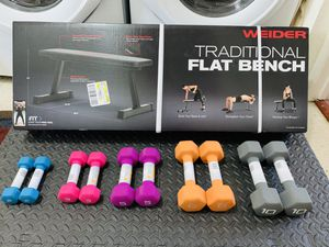All Brand New🎁 Flat Bench + CAP Set of 10, 8, 5, 3, and 2 lbs Dumbbells 🏋️‍♂️💪🏼 for Sale in Stockton, CA