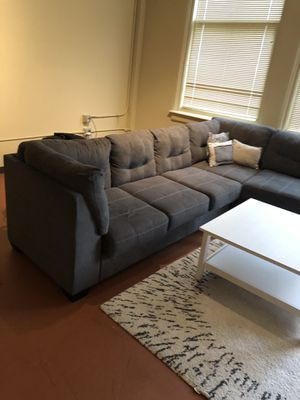 Sectional couch, coffee table, tv entertainment stand, and two high top chairs for Sale in Detroit, MI