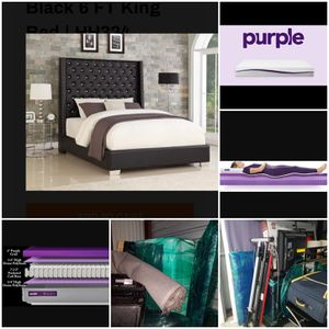 King Purple Mattress with Diamond Tuft Bed Frame for Sale in Beaumont, TX